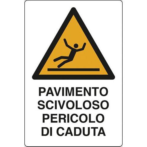 Cartello di pericolo pavimento scivoloso pericolo di - Cartello pavimento bagnato ...