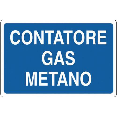 Cartello di indicazione contatore gas metano manutan for Taroccare contatore gas metano