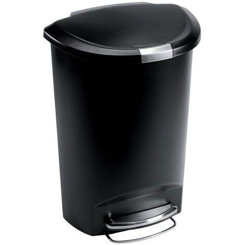 Pattumiera a pedale in plastica a mezzaluna - 50 L
