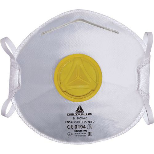 Scatola 10 maschere monouso FFP2 per vapori organici con valvola