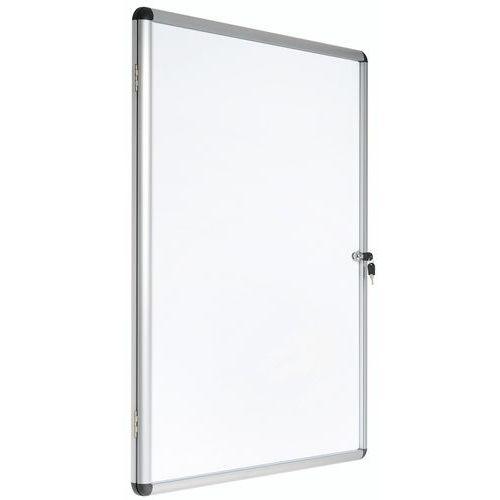 Bacheca per interni Manutan 1 anta - Fondo in alluminio - Anta in vetro