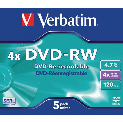 DVD-RW riscrivibili 4X- lotto da 5 Verbatim