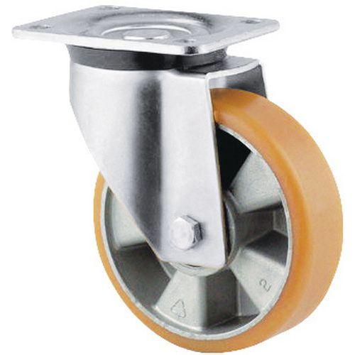 Rotella girevole con piastrina - Portata da 200 a 800 kg - Con corpo in alluminio