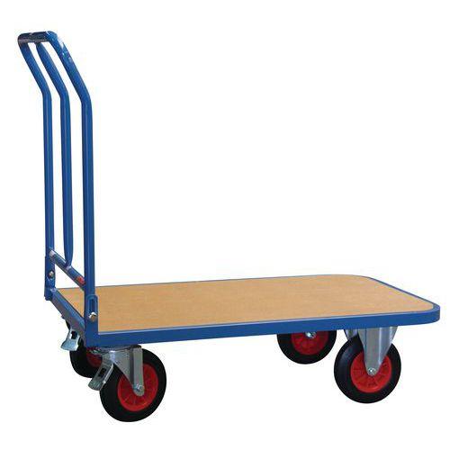Carrello con pianale in legno a sponda ribaltabile - Portata 400 kg