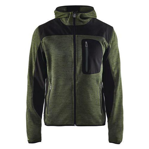 Giacca uomo a maglia Verde militare/Nero
