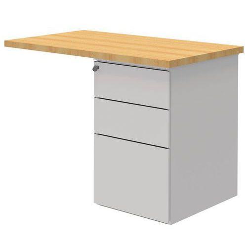 Estensione per scrivania Open con cassettiera - Faggio/bianco -