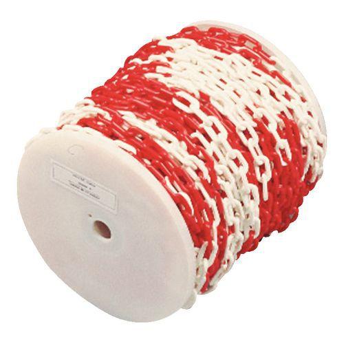 Catena in plastica in bobina - Rosso/bianco