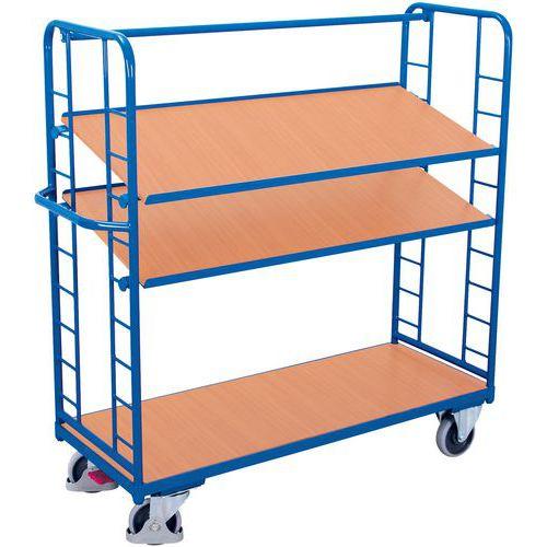 Carrello alto ergonomico con 3 ripiani in legno - Capacità 500 kg