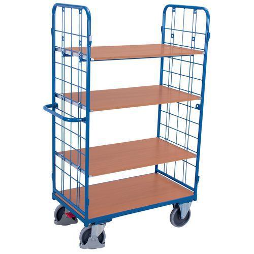 Carrello alto ergonomico con 4 ripiani in legno - Capacità 500 kg