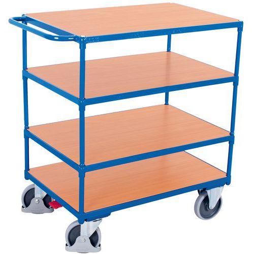 Carrello ergonomico con 4 ripiani in legno - Maniglia orizzontale - Capacità 500 kg