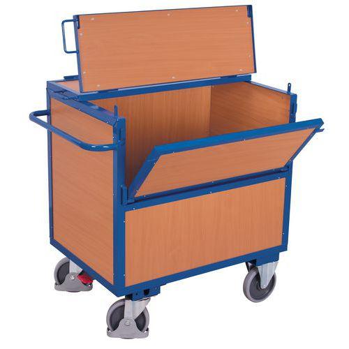 Carrello contenitore in legno ergonomico - 1 sponda semiribaltabile - Capacità 500 kg