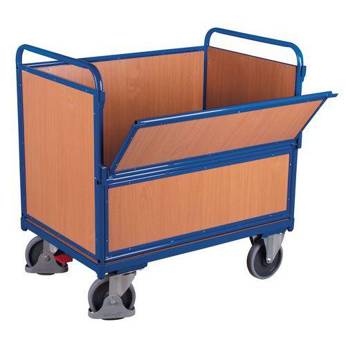 Carrello in legno ergonomico senza copertura - 1 sponda semiribaltabile - 500 kg