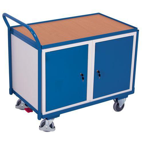 Carrello ergonomico con 2 armadietti - 1 ripiano in legno - Portata 250 kg