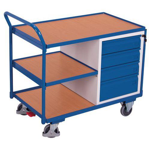 Carrello ergonomico con 3 ripiani in legno e cassettiera - Portata 250 kg