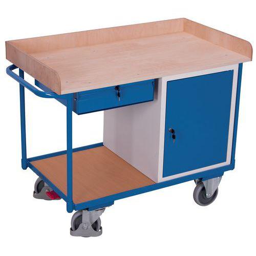 Carrello ergonomico con ripiani in legno, 400 kg - Armadietto - Cassetto