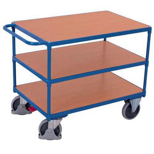 Carrello ergonomico con 3 ripiani in legno - Maniglia orizzontale - Portata 500 kg
