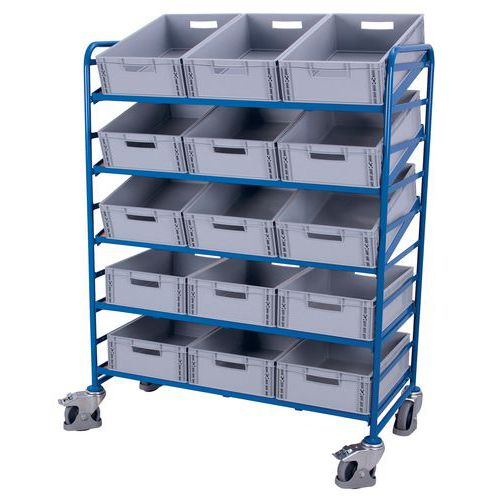 Carrello in acciaio portacontenitori a norma europea - Capacità 250 kg
