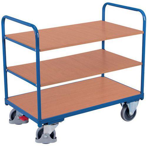 Carrello ergonomico con 3 ripiani in legno - Barre verticali - Portata 250 kg