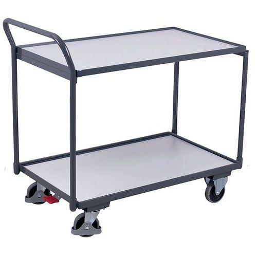 Carrello ergonomico a 2 ripiani in legno ESD - Maniglia verticale - Capacità 250 kg