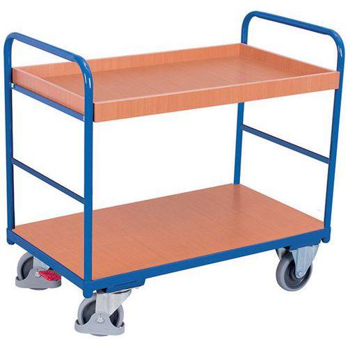 Carrello ergonomico con 2 ripiani in legno - Barre verticali - Portata 250 kg