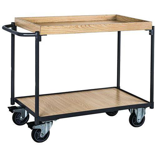 Carrello con ripiani in legno con bordo - Portata 250 kg - Barra
