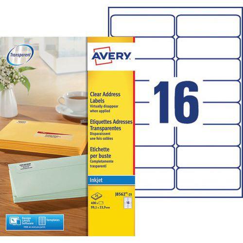 Etichetta per indirizzo trasparente Avery - Stampa a getto d'inchiostro