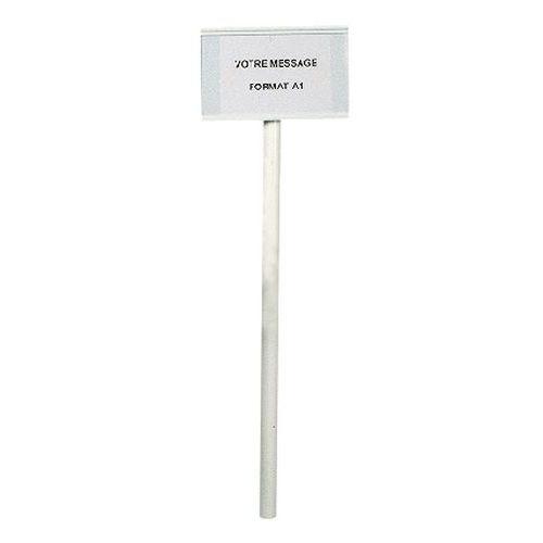 Palo + cartello informativo A4 - Metallo - Da cementare a terra