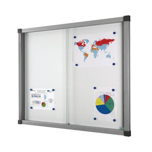Bacheca per interni Cube - Fondo in alluminio - Anta in vetro di sicurezza