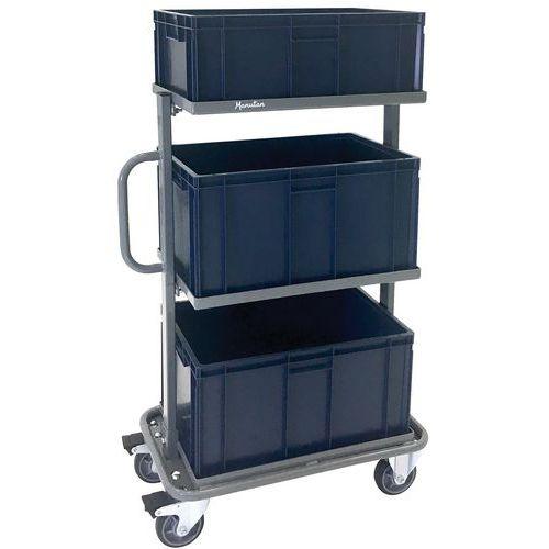 Carrello in acciaio con contenitori - Portata 200 kg - Manutan