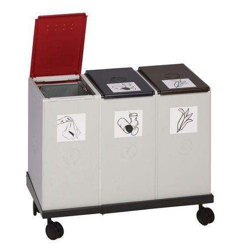 Base mobile per sistema di riciclaggio in plastica