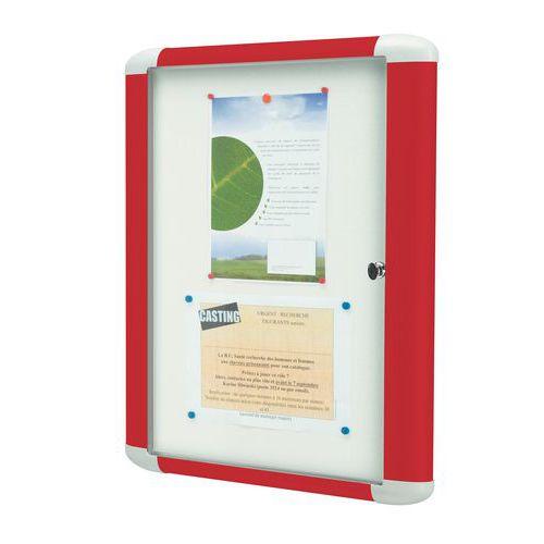 Bacheca per interni colorata - Fondo in alluminio - Anta in vetro di sicurezza