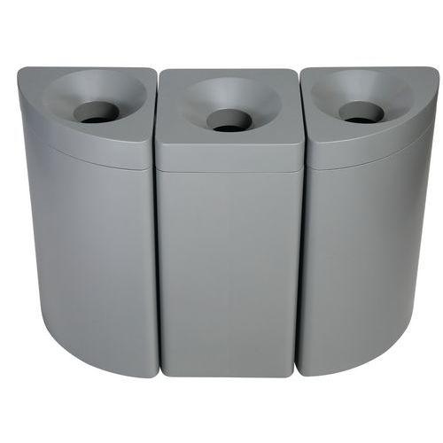 Contenitore per rifiuti Modular SE - Quarto di luna e quadrato grigio laccato - Manutan