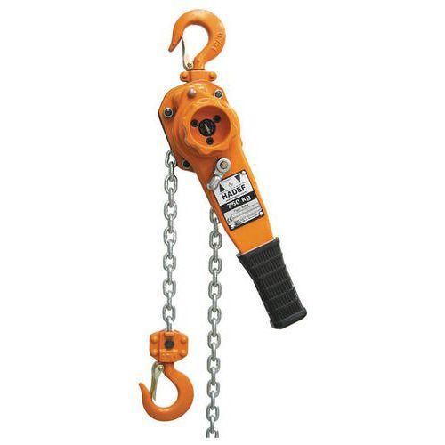 Paranco manuale a catena con leva - Portata da 750 kg a 6000 kg - Sollevamento 1,5 m