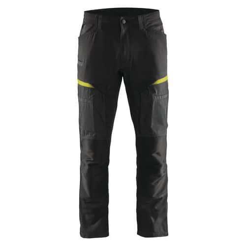 Pantaloni di servizio di trasporto con pannelli elasticizzati Nero / Giallo