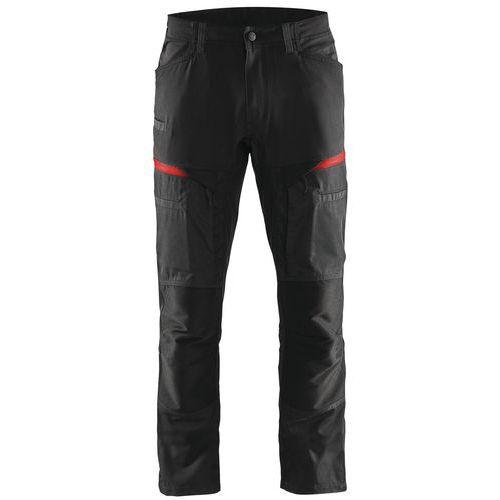 Pantaloni di servizio di trasporto con pannelli elasticizzati Nero / Rosso