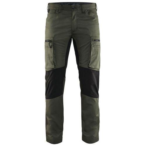 Pantaloni Service con inserti stretch Verde militare/Nero