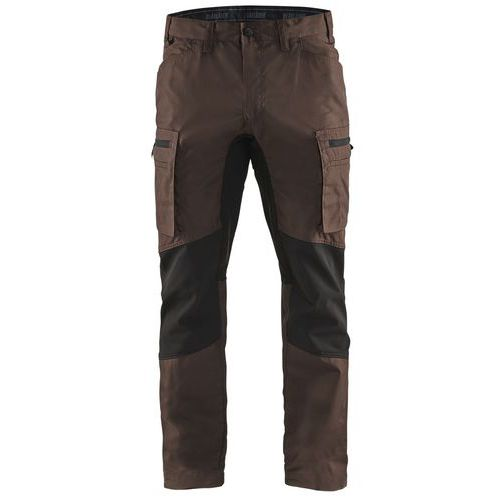 Pantaloni Service con inserti stretch Nero/marrone