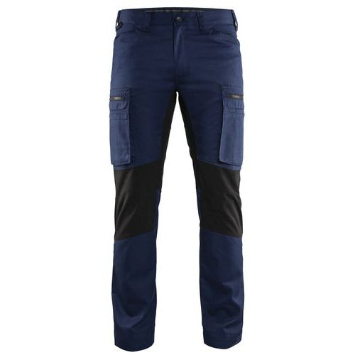 Pantaloni Service con inserti stretch Blu marino/Nero