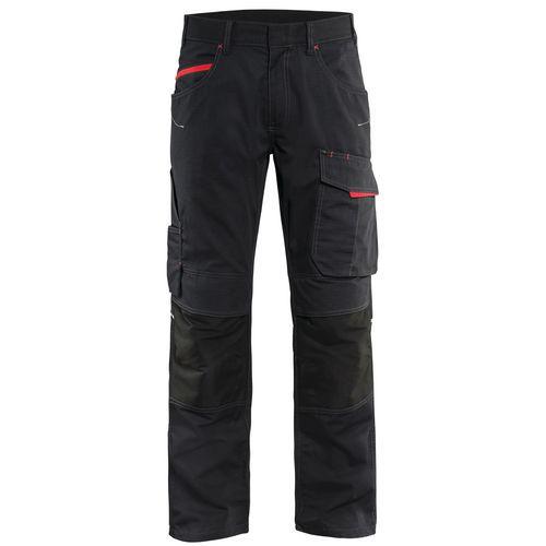 Pantaloni service con stretch Unite Nero/Rosso