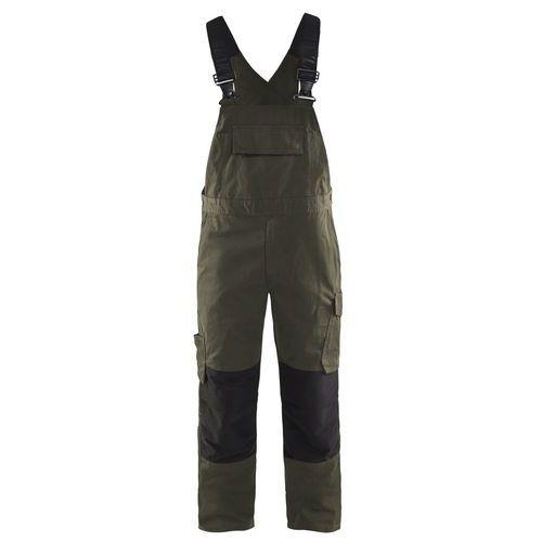 Bib trouser with knee pocket Service plus Verde oliva scuro/nero