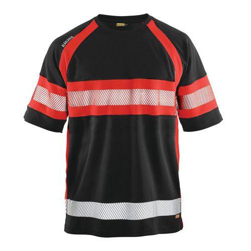 HiVis T-Shirt class 1 Nero/Rosso