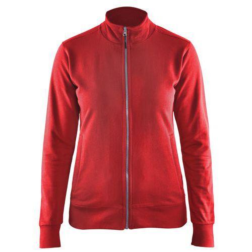 Felpa con zip integrale donna rosso