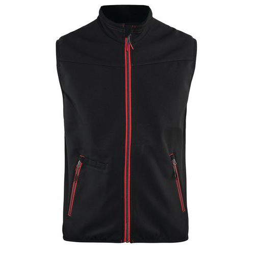 Softshell waistcoat UNITE Nero/Rosso