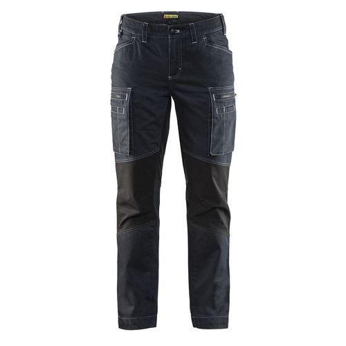 Pantalone di servizio donna con pannelli elasticizzati Blu marino / Nero