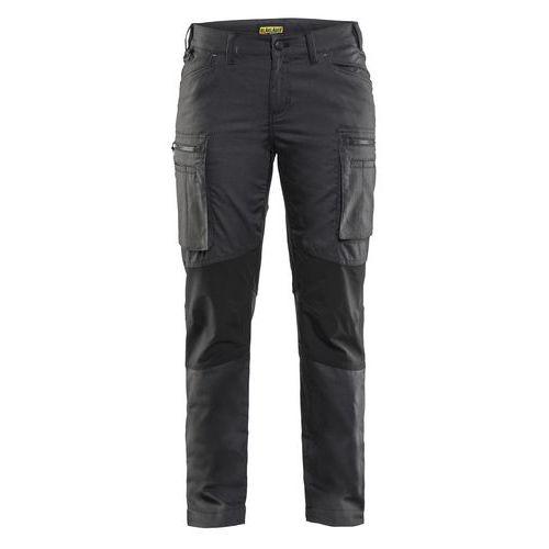 Pantalone di servizio donna con pannelli elasticizzati Grigio Scuro / Nero