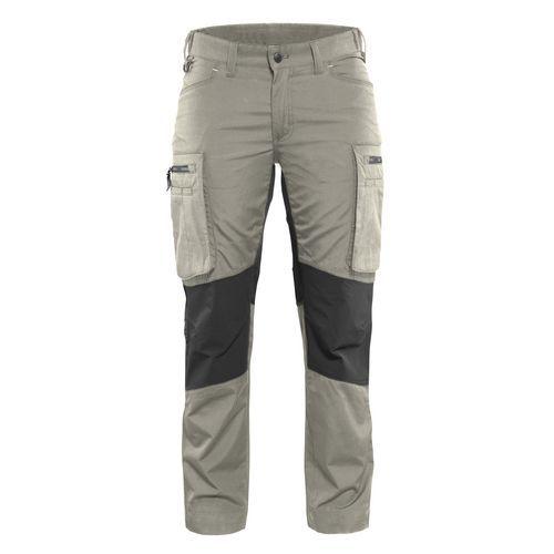Pantalone di servizio donna con pannelli elasticizzati Stone / Black