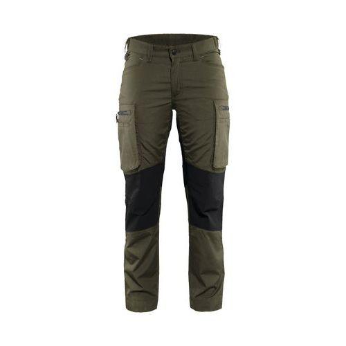 Pantalone di servizio donna con pannelli elasticizzati Verde oliva scuro / nero