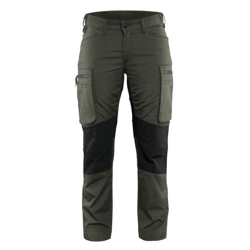 Pantalone di servizio donna con pannelli elasticizzati Verde militare / Nero