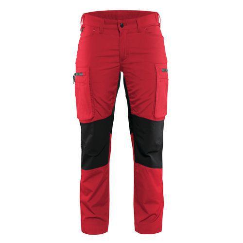 Pantalone di servizio donna con pannelli elasticizzati Rosso / Nero