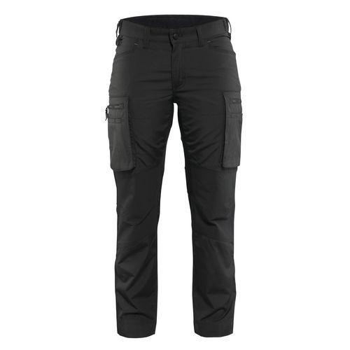Pantalone di servizio donna con pannelli elasticizzati Nero